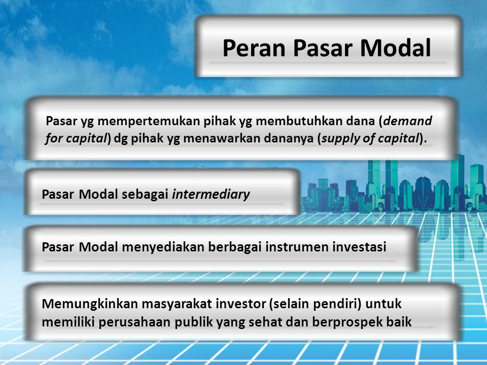 Peran Pasar Modal Pasar yg mempertemukan pihak yg membutuhkan dana (demand for capital) dg pihak yg menawarkan dananya (supply of capital). Pasar Moda