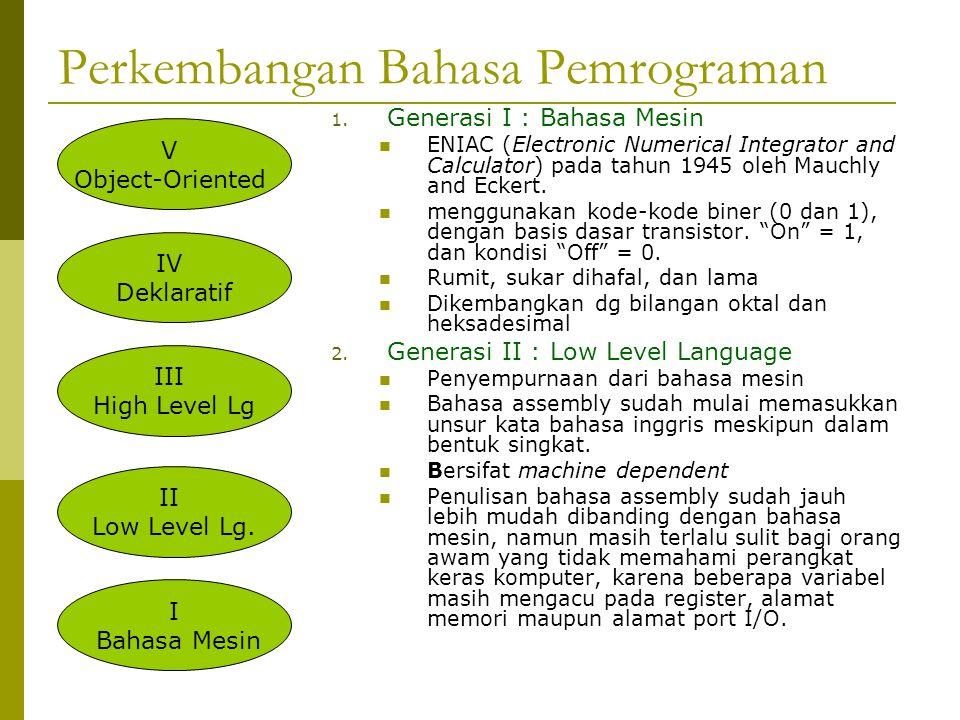 Perkembangan Bahasa Pemrograman 1.