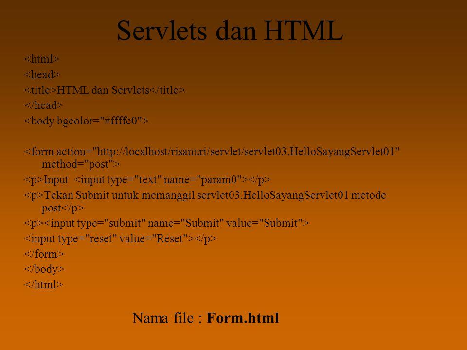 Servlets dan HTML HTML dan Servlets Input Tekan Submit untuk memanggil servlet03.HelloSayangServlet01 metode post Nama file : Form.html