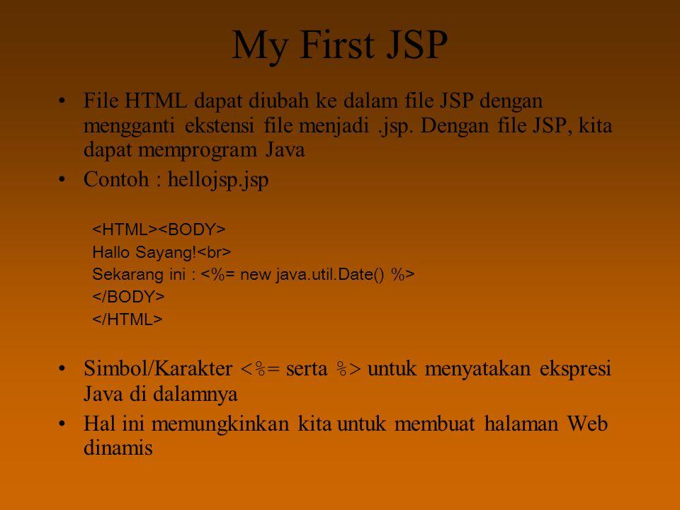 My First JSP File HTML dapat diubah ke dalam file JSP dengan mengganti ekstensi file menjadi.jsp. Dengan file JSP, kita dapat memprogram Java Contoh :