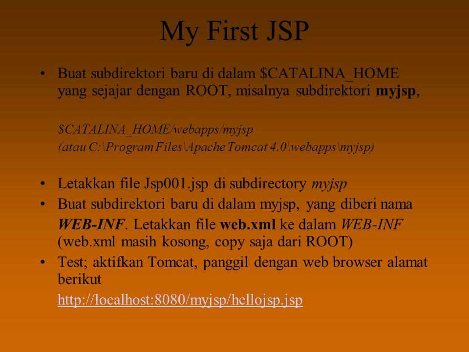 My First JSP Buat subdirektori baru di dalam $CATALINA_HOME yang sejajar dengan ROOT, misalnya subdirektori myjsp, $CATALINA_HOME/webapps/myjsp (atau C:\Program Files\Apache Tomcat 4.0\webapps\myjsp) Letakkan file Jsp001.jsp di subdirectory myjsp Buat subdirektori baru di dalam myjsp, yang diberi nama WEB-INF.