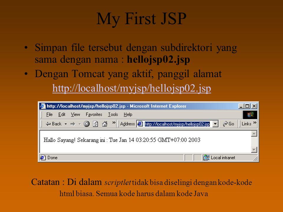 My First JSP Simpan file tersebut dengan subdirektori yang sama dengan nama : hellojsp02.jsp Dengan Tomcat yang aktif, panggil alamat http://localhost/myjsp/hellojsp02.jsp Catatan : Di dalam scriptlet tidak bisa diselingi dengan kode-kode html biasa.