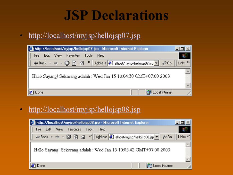 JSP Declarations http://localhost/myjsp/hellojsp07.jsp http://localhost/myjsp/hellojsp08.jsp