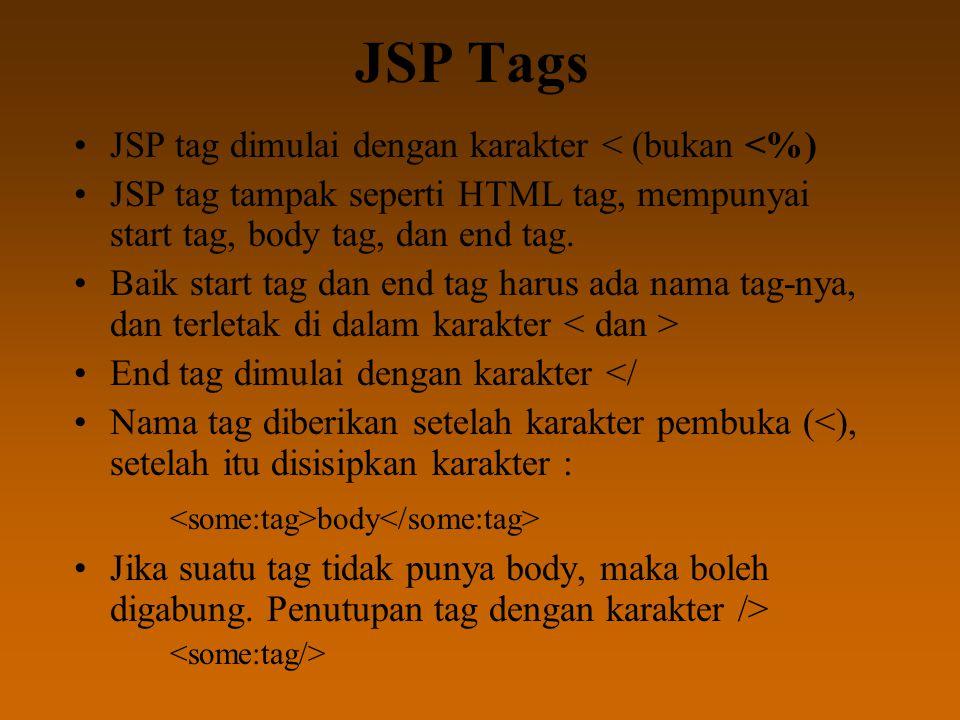 JSP Tags JSP tag dimulai dengan karakter < (bukan <%) JSP tag tampak seperti HTML tag, mempunyai start tag, body tag, dan end tag. Baik start tag dan
