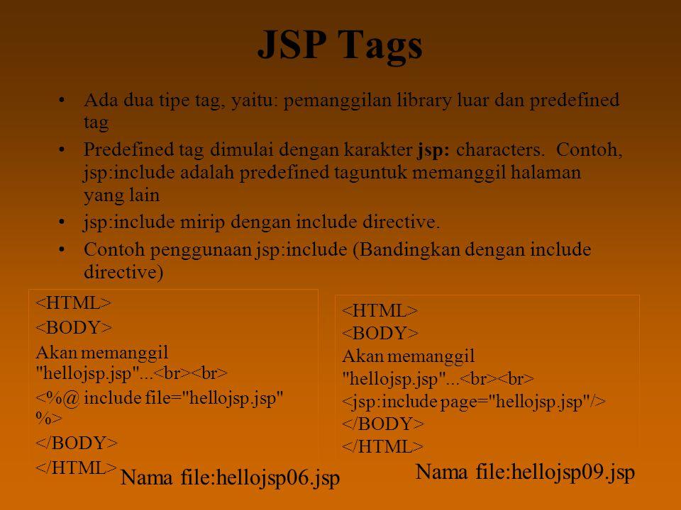 JSP Tags Ada dua tipe tag, yaitu: pemanggilan library luar dan predefined tag Predefined tag dimulai dengan karakter jsp: characters. Contoh, jsp:incl