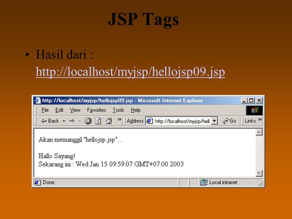 JSP Tags Hasil dari : http://localhost/myjsp/hellojsp09.jsp