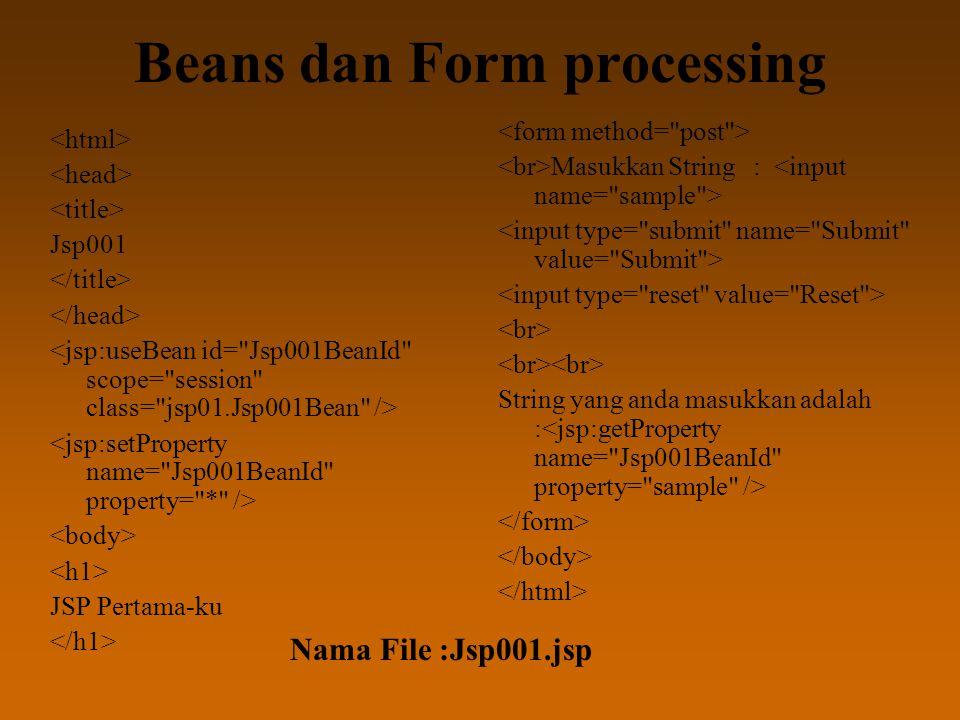 Beans dan Form processing Jsp001 JSP Pertama-ku Masukkan String : String yang anda masukkan adalah : Nama File :Jsp001.jsp