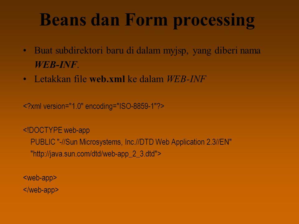Beans dan Form processing Buat subdirektori baru di dalam myjsp, yang diberi nama WEB-INF.
