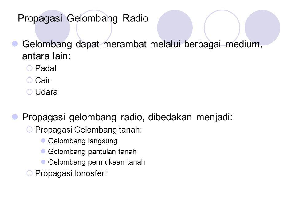 Propagasi Gelombang Radio Gelombang dapat merambat melalui berbagai medium, antara lain:  Padat  Cair  Udara Propagasi gelombang radio, dibedakan m