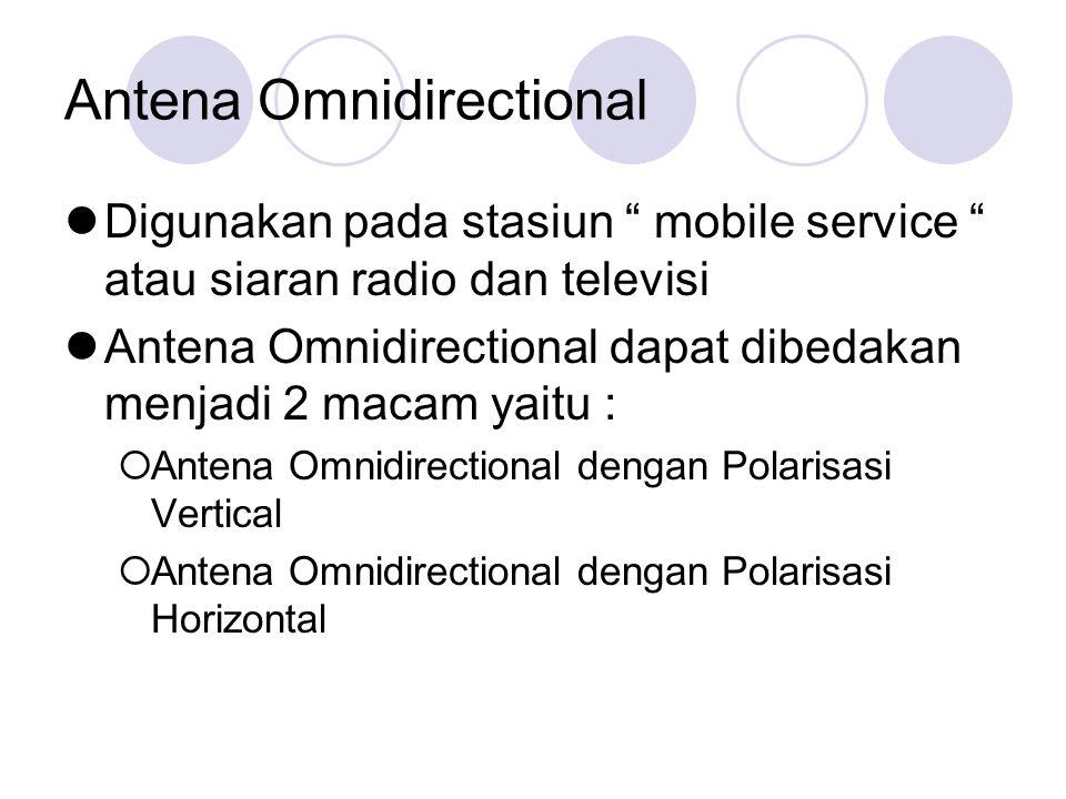 """Antena Omnidirectional Digunakan pada stasiun """" mobile service """" atau siaran radio dan televisi Antena Omnidirectional dapat dibedakan menjadi 2 macam"""