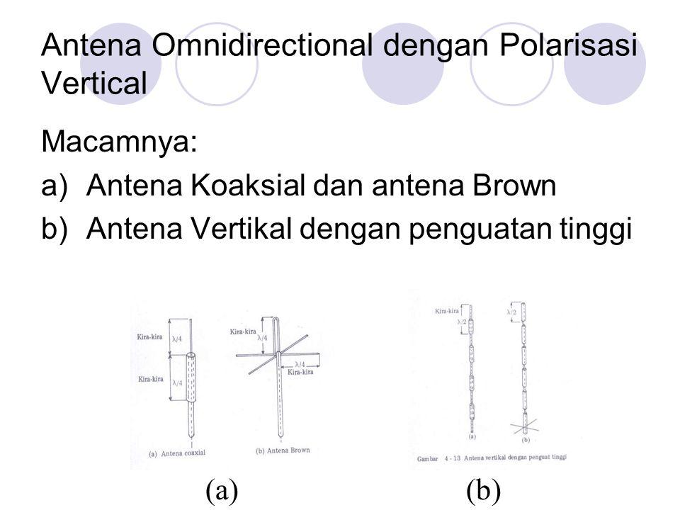 Antena Omnidirectional dengan Polarisasi Vertical Macamnya: a)Antena Koaksial dan antena Brown b)Antena Vertikal dengan penguatan tinggi (a)(b)