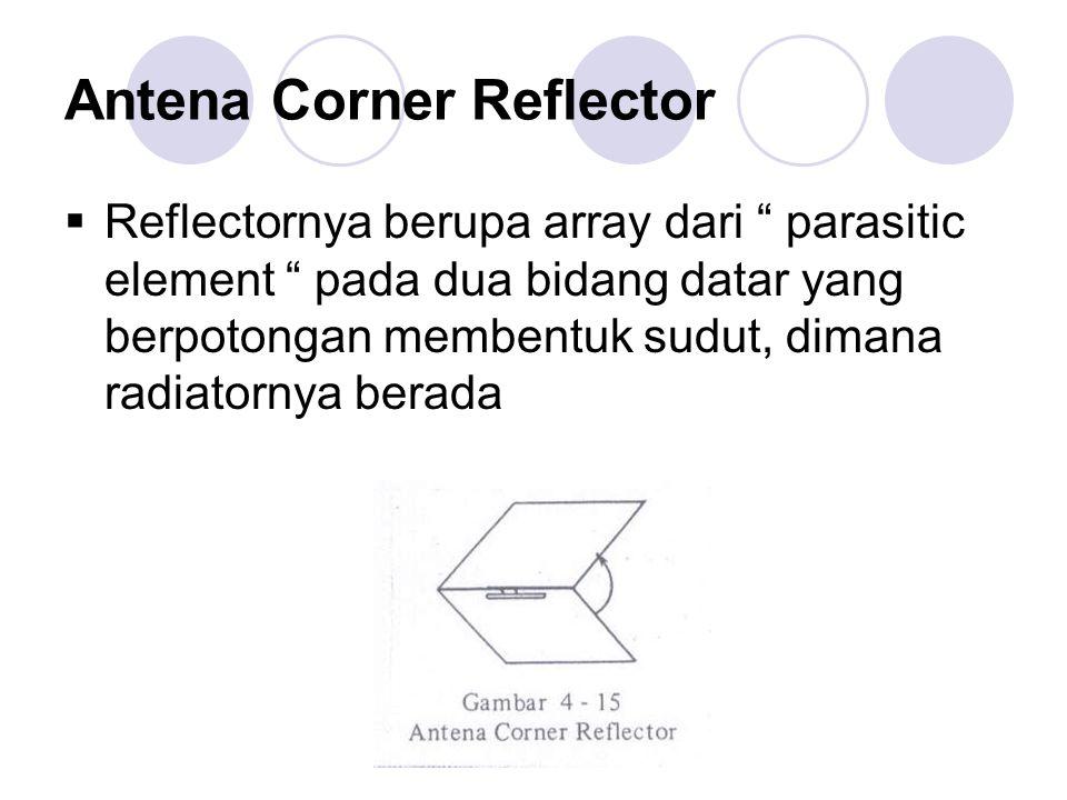 """Antena Corner Reflector  Reflectornya berupa array dari """" parasitic element """" pada dua bidang datar yang berpotongan membentuk sudut, dimana radiator"""
