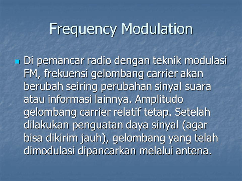 Frequency Modulation Di pemancar radio dengan teknik modulasi FM, frekuensi gelombang carrier akan berubah seiring perubahan sinyal suara atau informa