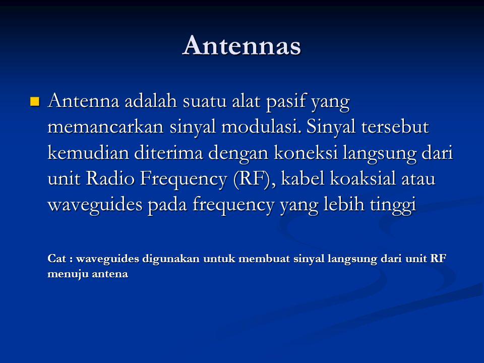 Antennas Antenna adalah suatu alat pasif yang memancarkan sinyal modulasi. Sinyal tersebut kemudian diterima dengan koneksi langsung dari unit Radio F