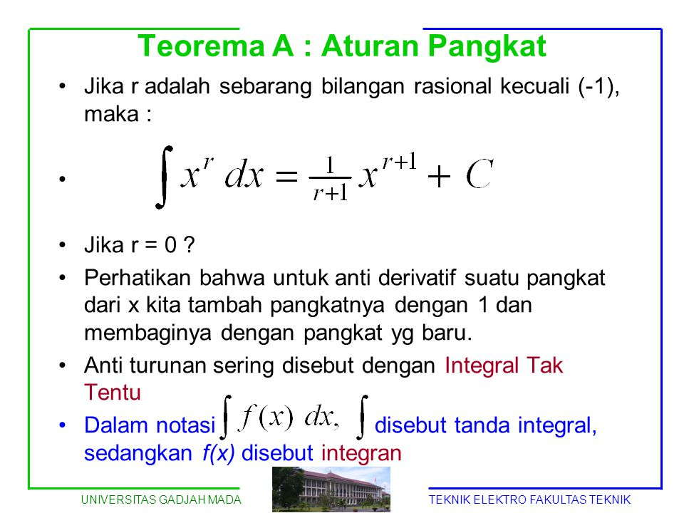 UNIVERSITAS GADJAH MADATEKNIK ELEKTRO FAKULTAS TEKNIK Teorema A : Aturan Pangkat Jika r adalah sebarang bilangan rasional kecuali (-1), maka : Jika r