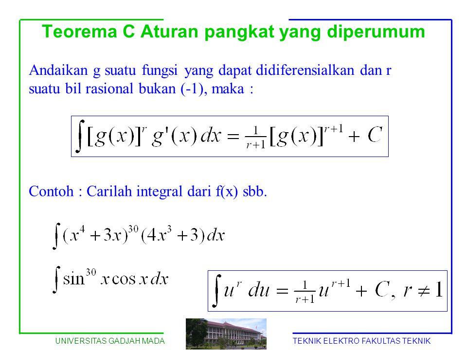UNIVERSITAS GADJAH MADATEKNIK ELEKTRO FAKULTAS TEKNIK Teorema C Aturan pangkat yang diperumum Andaikan g suatu fungsi yang dapat didiferensialkan dan
