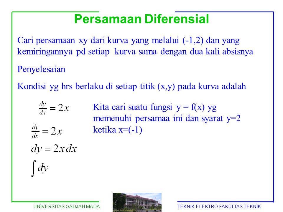 UNIVERSITAS GADJAH MADATEKNIK ELEKTRO FAKULTAS TEKNIK Persamaan Diferensial Cari persamaan xy dari kurva yang melalui (-1,2) dan yang kemiringannya pd