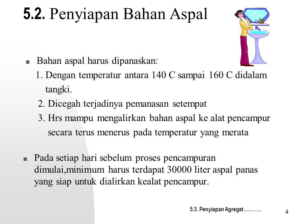 4 5.2. Penyiapan Bahan Aspal Pada setiap hari sebelum proses pencampuran dimulai,minimum harus terdapat 30000 liter aspal panas yang siap untuk dialir