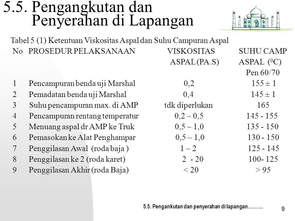9 5.5. Pengangkutan dan Penyerahan di Lapangan 5.5. Pengankutan dan penyerahan di lapangan………. Tabel 5 (1) Ketentuan Viskositas Aspal dan Suhu Campura