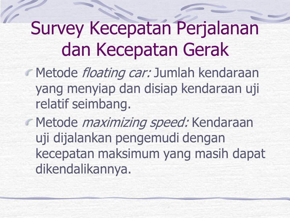 Kecepatan Perjalanan V p = 3600 x L / W p V g = (3600 x L) / (W p – T) V p = kecepatan perjalanan (km/jam) V g = kecepatan gerak (km/jam) L = panjang
