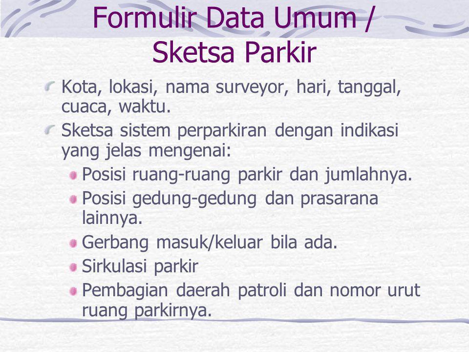 Formulir Survey Parkir Berpatroli / di Gerbang Masukan: Data umum / sketsa sistem perparkiran. Masukan: Pencatatan pelat nomor secara berpatroli. Masu