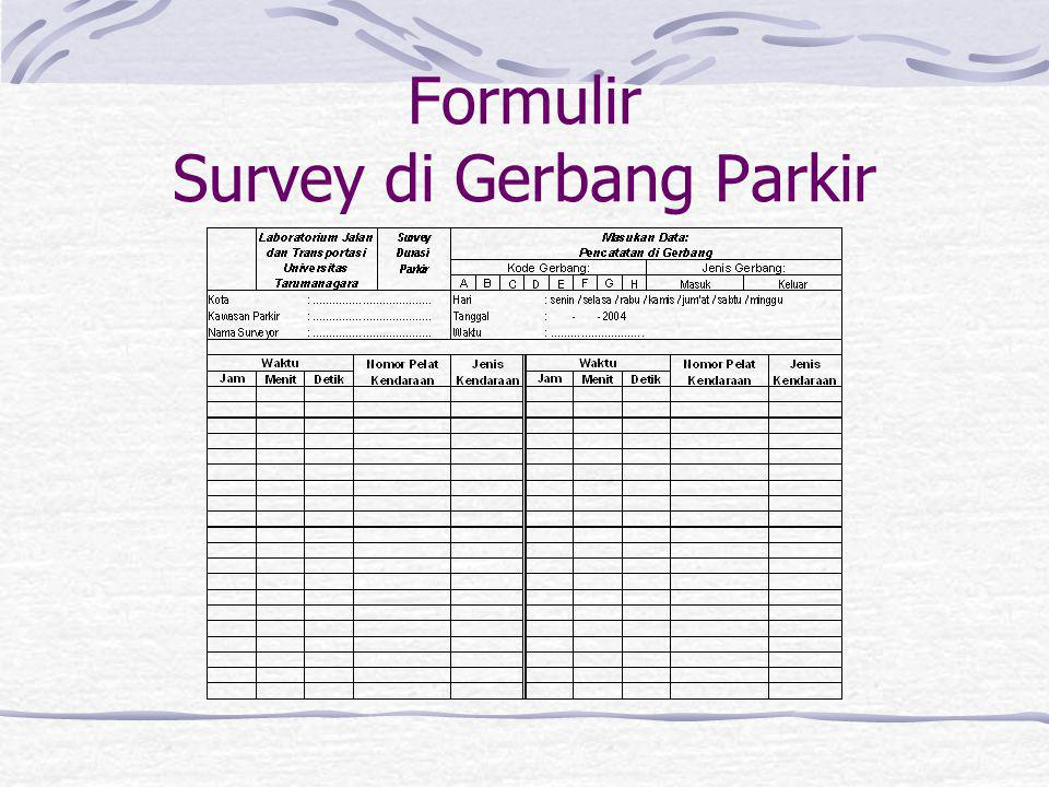 Survey di Gerbang Parkir Kendaraan yang keluar dan masuk gerbang parkir dicatat nomor kendaraannya dan waktu keluar / masuknya. Pencatatan waktu dilak