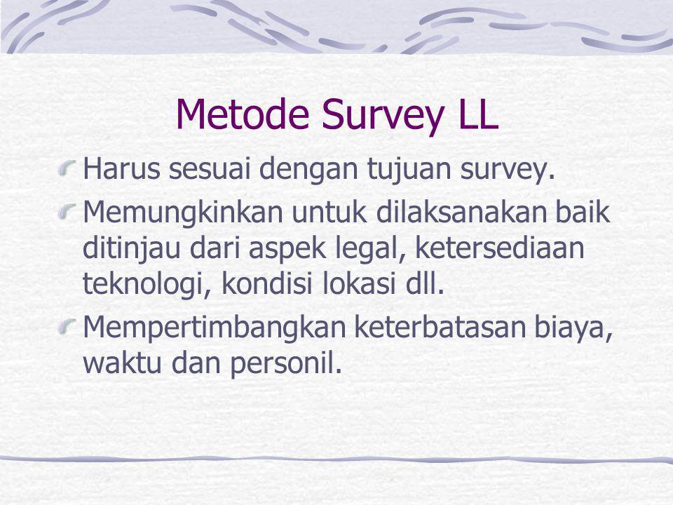 Tujuan Survey LL Harus sesuai dengan tujuan studi transportasi. Harus dinyatakan dengan jelas karena berkaitan erat dengan metode. Harus memperhatikan