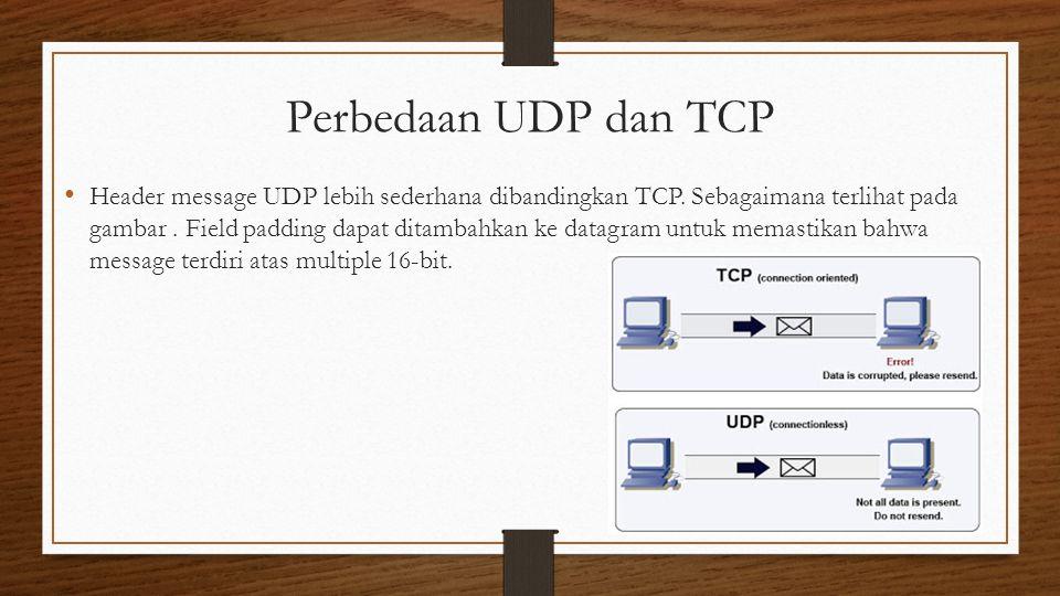 Perbedaan UDP dan TCP Header message UDP lebih sederhana dibandingkan TCP.