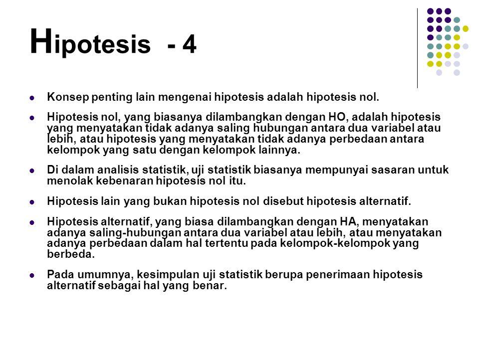 Konsep penting lain mengenai hipotesis adalah hipotesis nol. Hipotesis nol, yang biasanya dilambangkan dengan HO, adalah hipotesis yang menyatakan tid