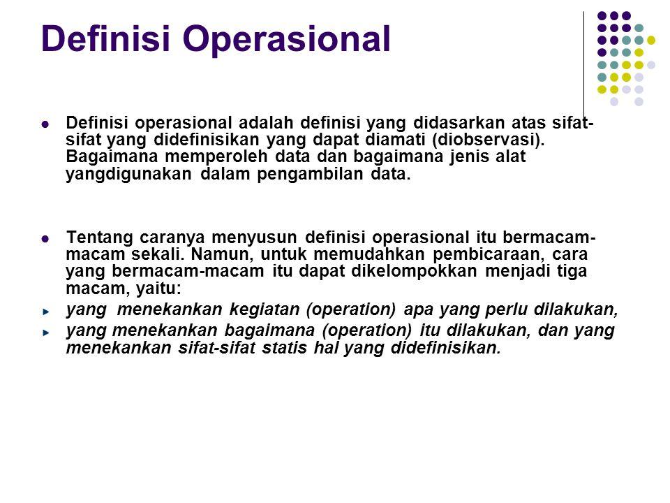 Definisi Operasional Definisi operasional adalah definisi yang didasarkan atas sifat- sifat yang didefinisikan yang dapat diamati (diobservasi). Bagai