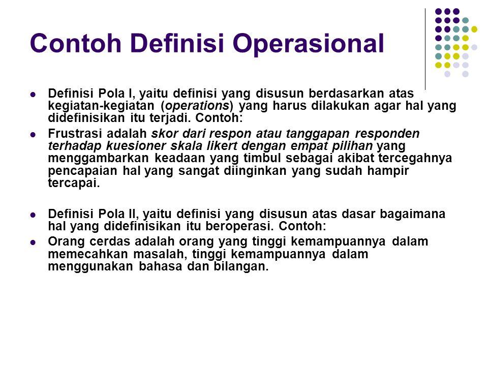 Contoh Definisi Operasional Definisi Pola I, yaitu definisi yang disusun berdasarkan atas kegiatan-kegiatan (operations) yang harus dilakukan agar hal