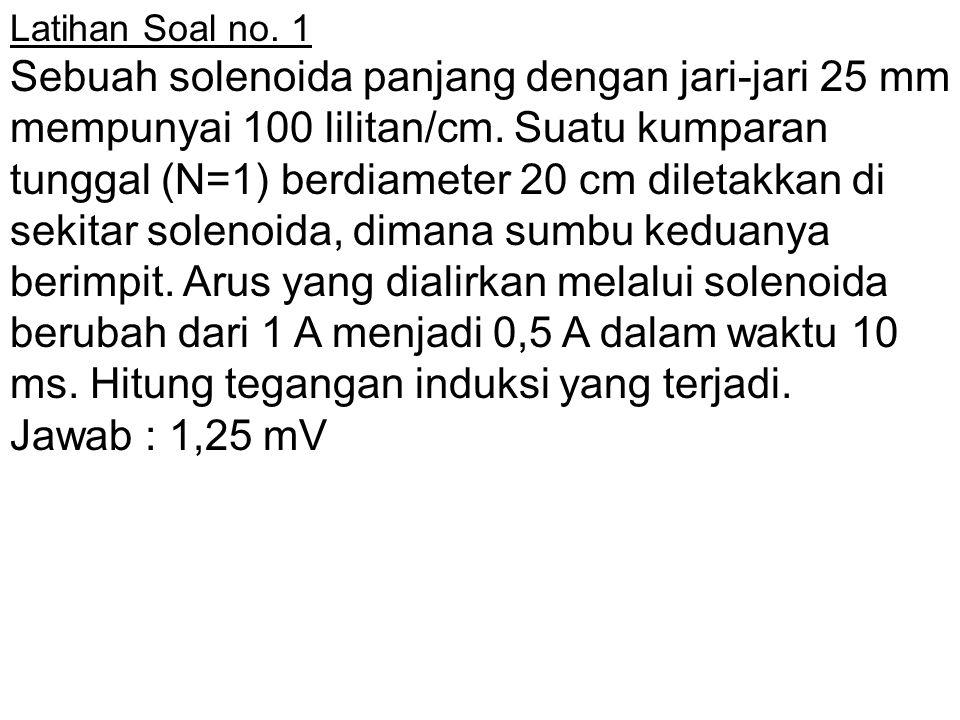 Latihan Soal no. 1 Sebuah solenoida panjang dengan jari-jari 25 mm mempunyai 100 lilitan/cm. Suatu kumparan tunggal (N=1) berdiameter 20 cm diletakkan
