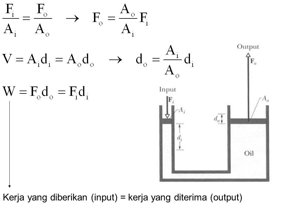 Kerja yang diberikan (input) = kerja yang diterima (output)