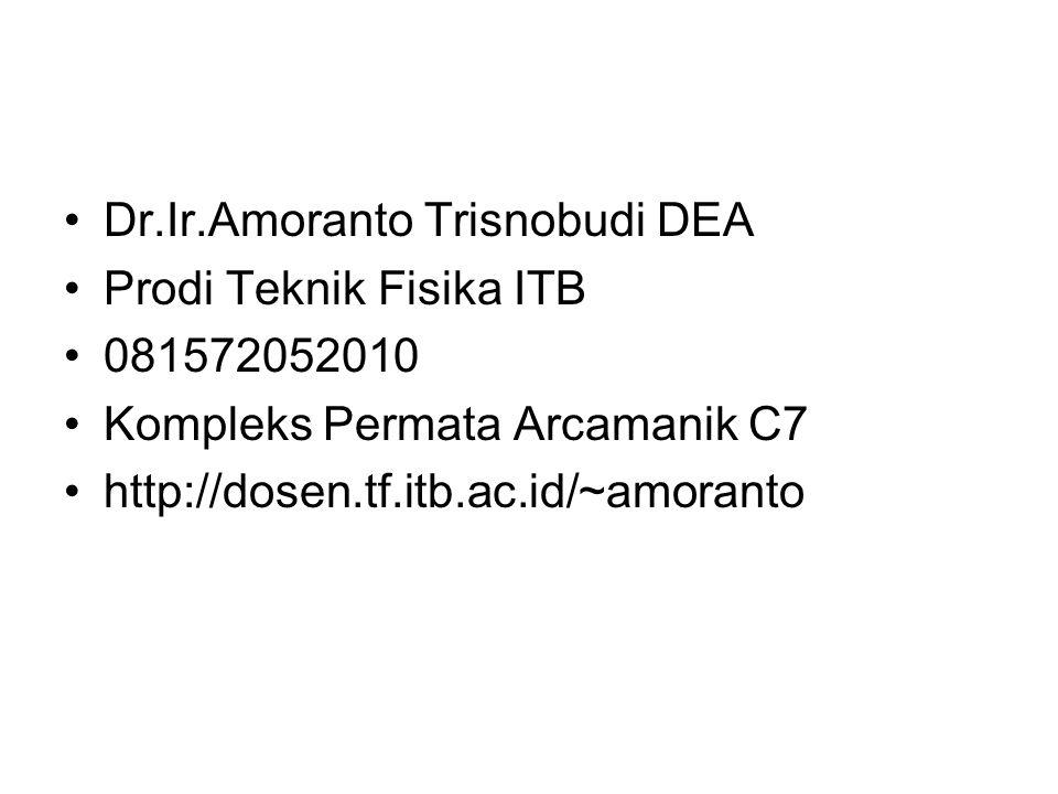 Dr.Ir.Amoranto Trisnobudi DEA Prodi Teknik Fisika ITB 081572052010 Kompleks Permata Arcamanik C7 http://dosen.tf.itb.ac.id/~amoranto