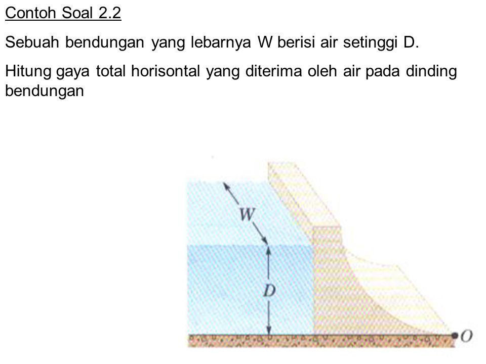 Contoh Soal 2.2 Sebuah bendungan yang lebarnya W berisi air setinggi D. Hitung gaya total horisontal yang diterima oleh air pada dinding bendungan