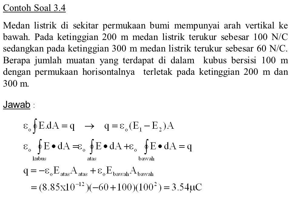 Contoh Soal 3.4 Medan listrik di sekitar permukaan bumi mempunyai arah vertikal ke bawah.