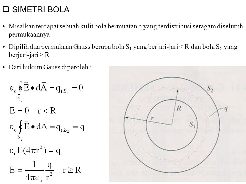  SIMETRI BOLA Misalkan terdapat sebuah kulit bola bermuatan q yang terdistribusi seragam diseluruh permukaannya Dipilih dua permukaan Gauss berupa bo