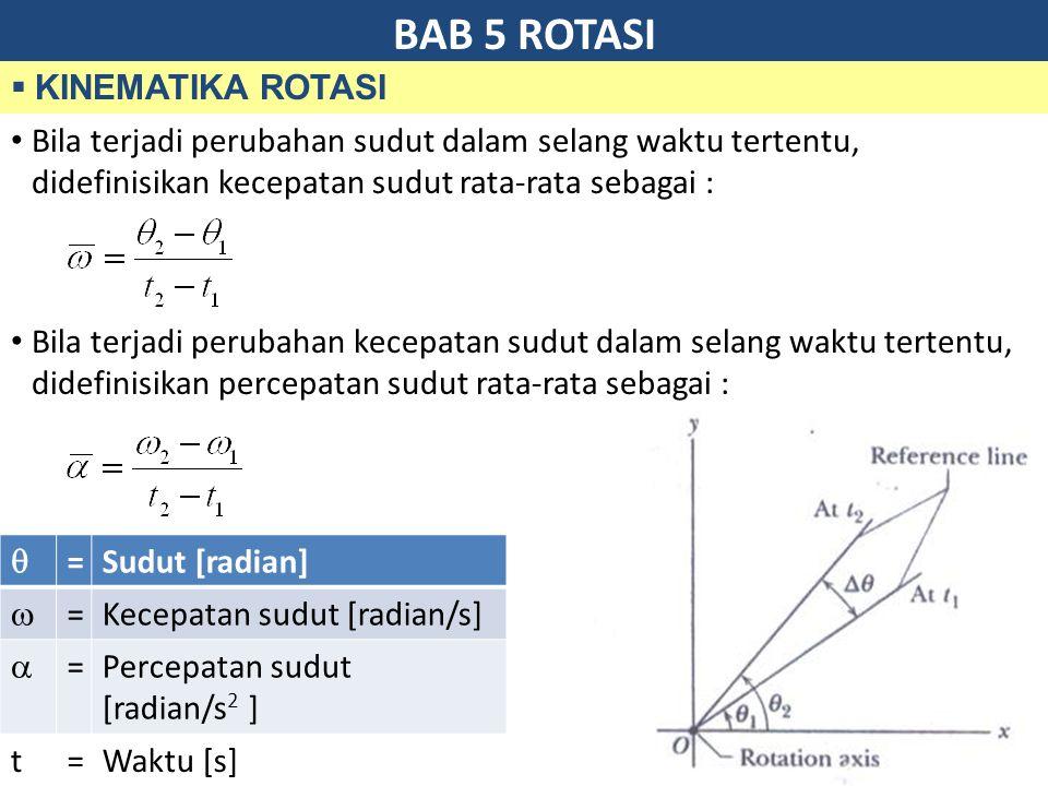 BAB 5 ROTASI  KINEMATIKA ROTASI Bila terjadi perubahan sudut dalam selang waktu tertentu, didefinisikan kecepatan sudut rata-rata sebagai : Bila terjadi perubahan kecepatan sudut dalam selang waktu tertentu, didefinisikan percepatan sudut rata-rata sebagai :  =Sudut [radian]  =Kecepatan sudut [radian/s]  =Percepatan sudut [radian/s 2 ] t=Waktu [s]