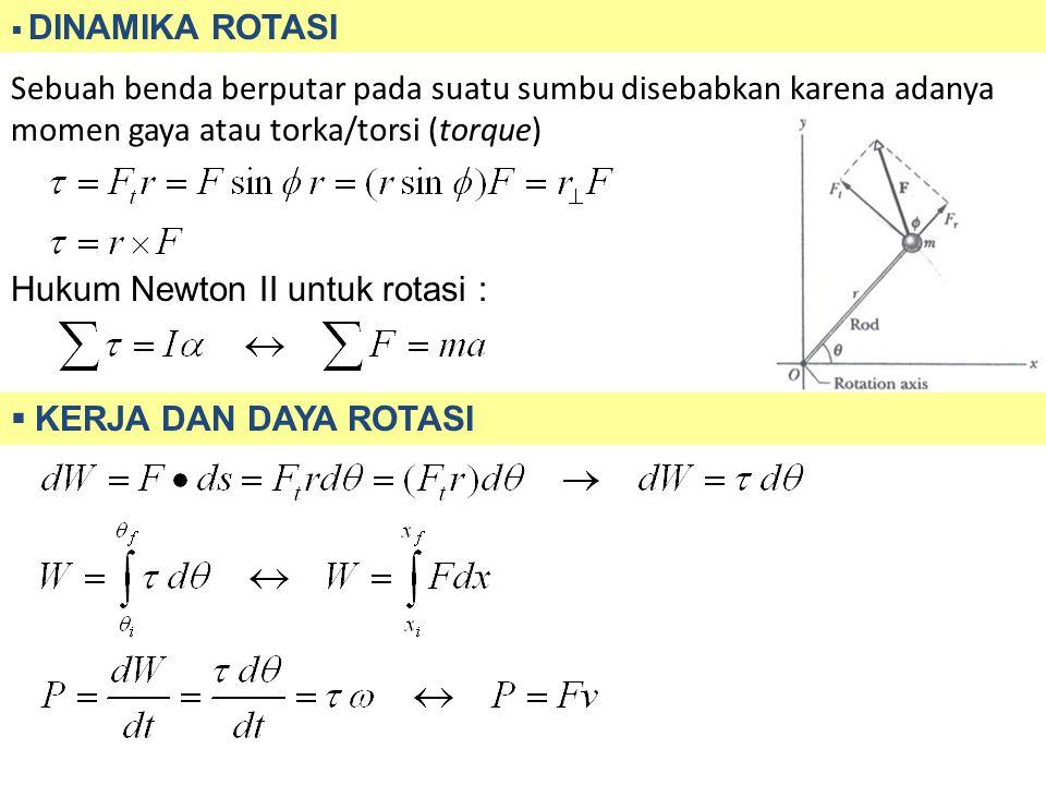  DINAMIKA ROTASI Sebuah benda berputar pada suatu sumbu disebabkan karena adanya momen gaya atau torka/torsi (torque) Hukum Newton II untuk rotasi :  KERJA DAN DAYA ROTASI