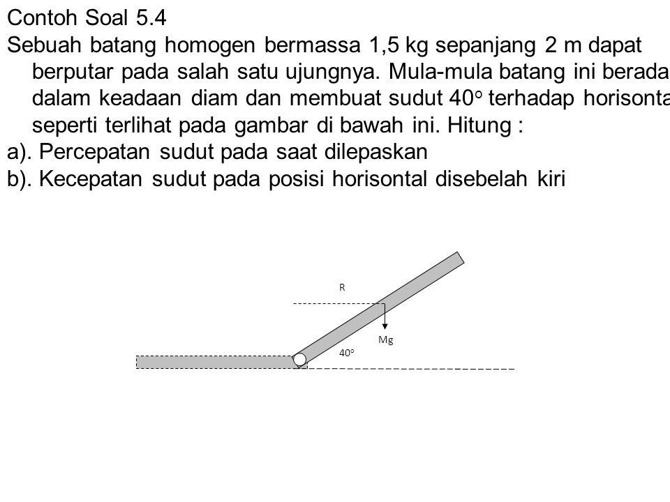 Contoh Soal 5.4 Sebuah batang homogen bermassa 1,5 kg sepanjang 2 m dapat berputar pada salah satu ujungnya.