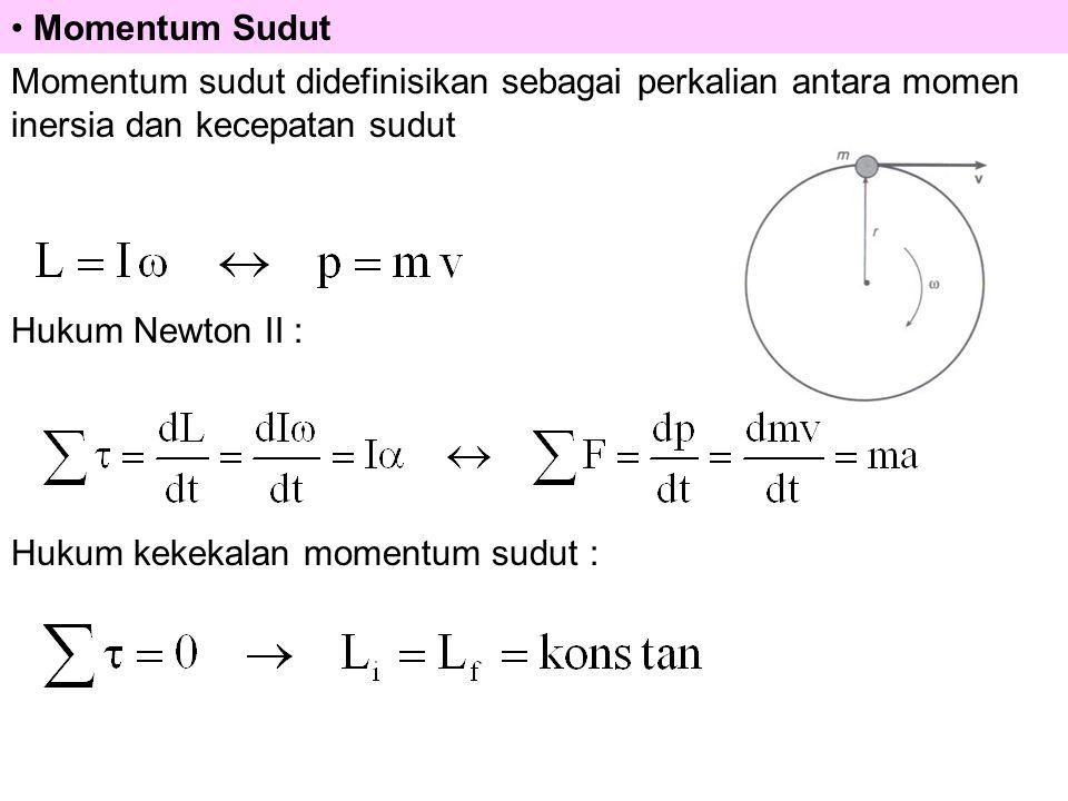 Momentum Sudut Momentum sudut didefinisikan sebagai perkalian antara momen inersia dan kecepatan sudut Hukum Newton II : Hukum kekekalan momentum sudut :