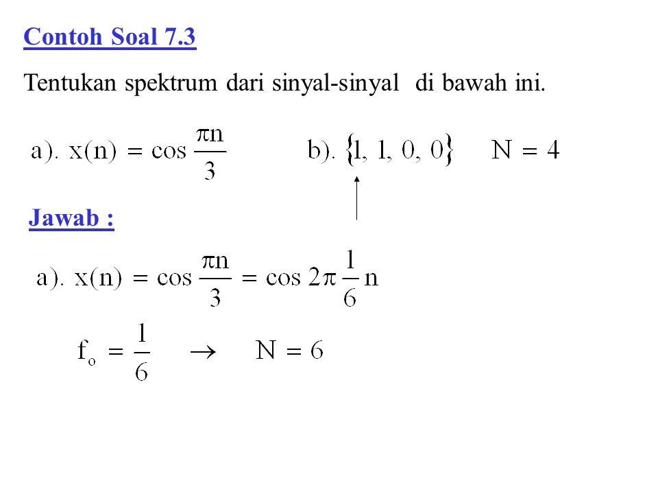 Contoh Soal 7.3 Tentukan spektrum dari sinyal-sinyal di bawah ini. Jawab :
