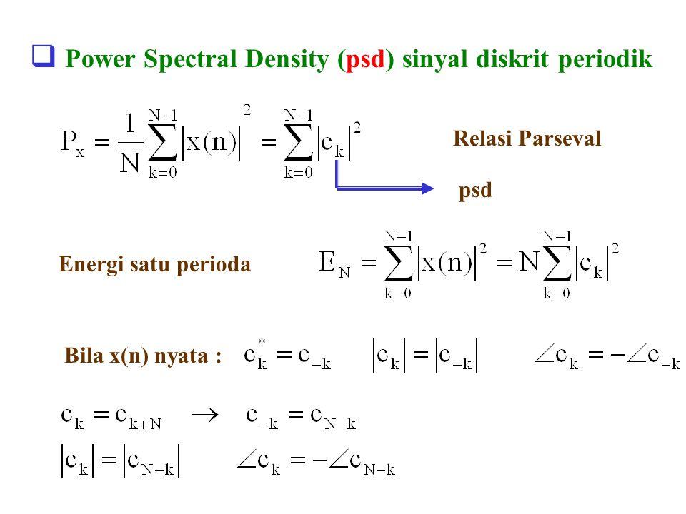  Power Spectral Density (psd) sinyal diskrit periodik Relasi Parseval psd Energi satu perioda Bila x(n) nyata :