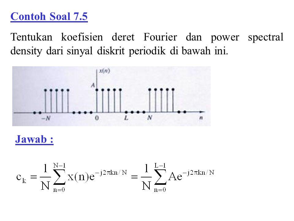 Contoh Soal 7.5 Tentukan koefisien deret Fourier dan power spectral density dari sinyal diskrit periodik di bawah ini. Jawab :