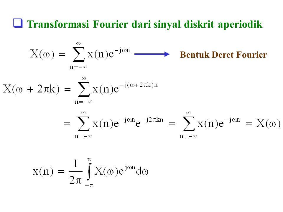  Transformasi Fourier dari sinyal diskrit aperiodik Bentuk Deret Fourier