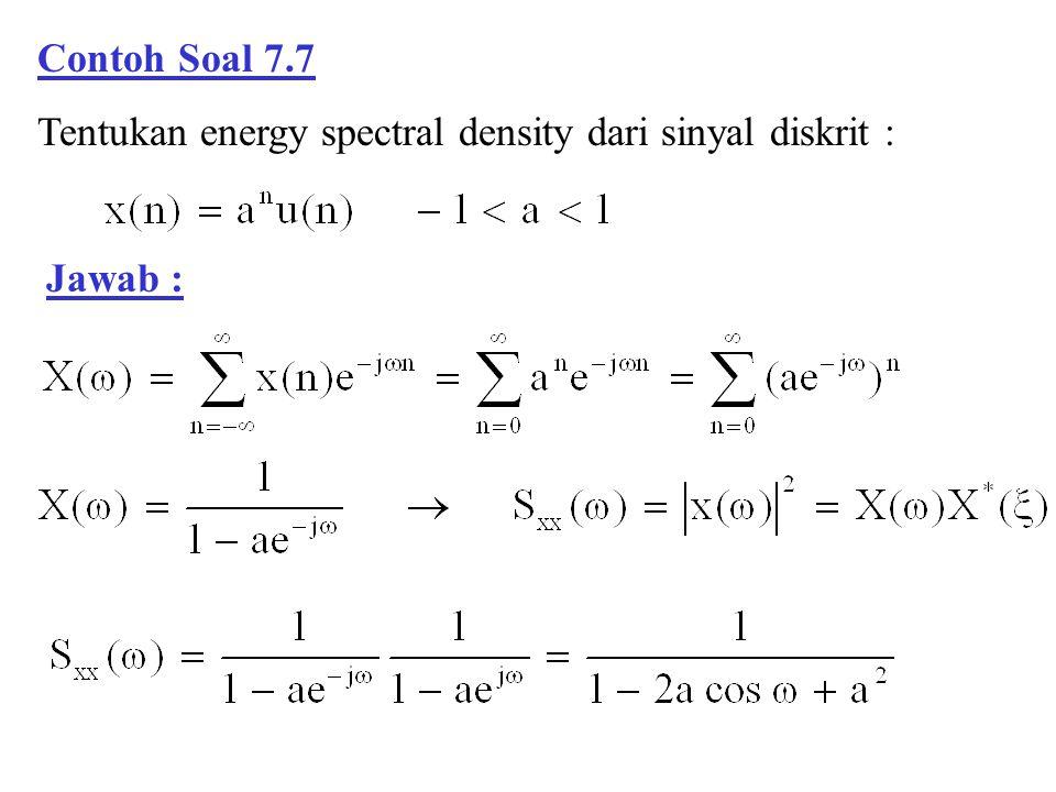 Contoh Soal 7.7 Tentukan energy spectral density dari sinyal diskrit : Jawab :