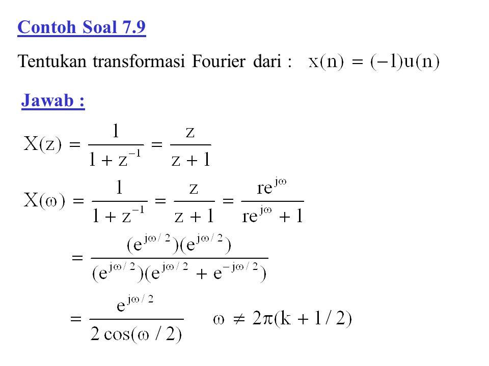 Contoh Soal 7.9 Tentukan transformasi Fourier dari : Jawab :