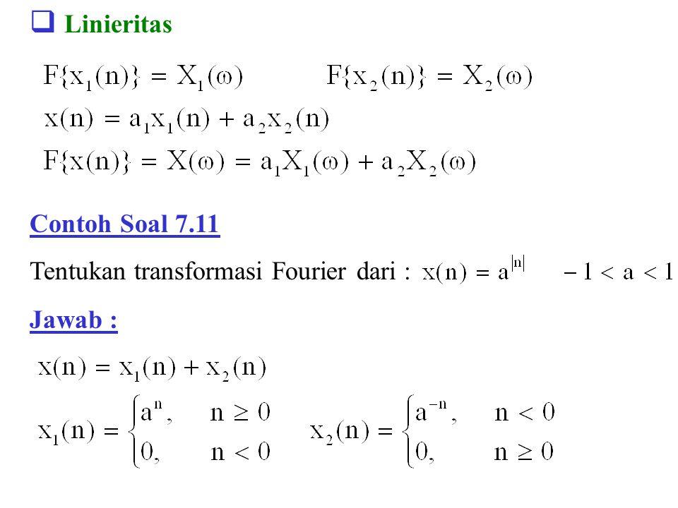  Linieritas Contoh Soal 7.11 Tentukan transformasi Fourier dari : Jawab :