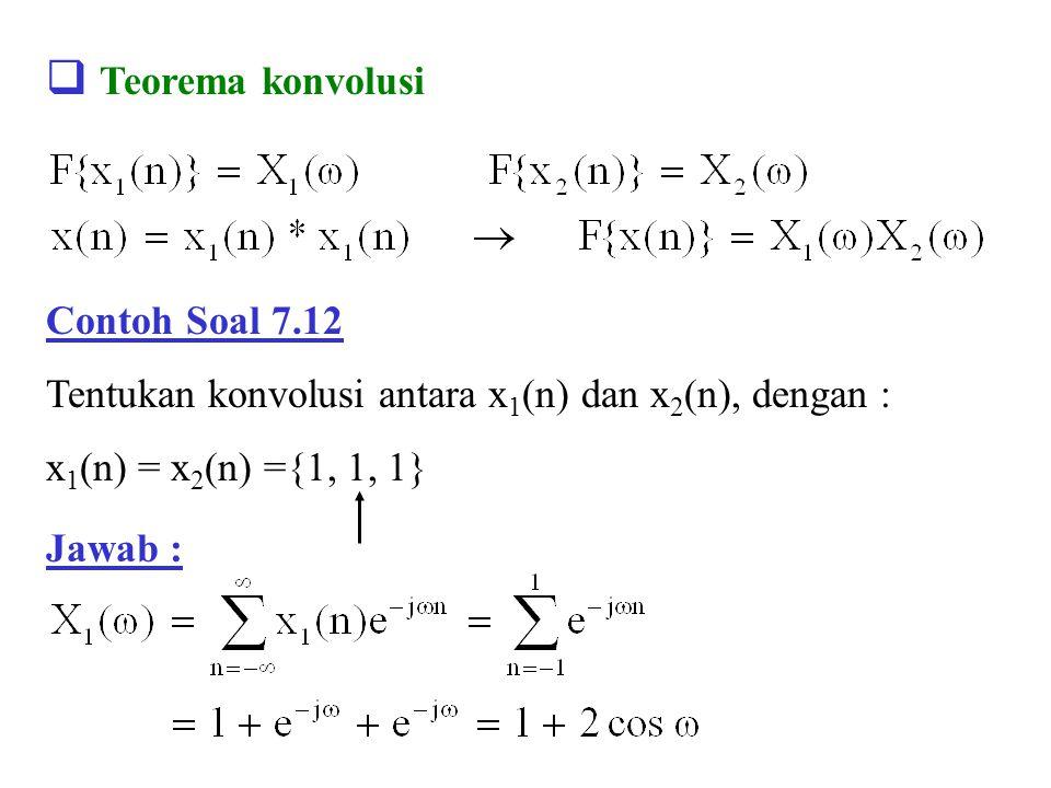  Teorema konvolusi Jawab : Contoh Soal 7.12 Tentukan konvolusi antara x 1 (n) dan x 2 (n), dengan : x 1 (n) = x 2 (n) ={1, 1, 1}