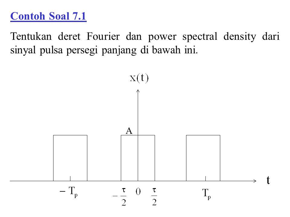 Contoh Soal 7.1 Tentukan deret Fourier dan power spectral density dari sinyal pulsa persegi panjang di bawah ini. A